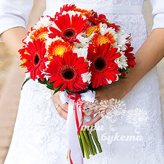 Букет невесты из гербер и хризантем